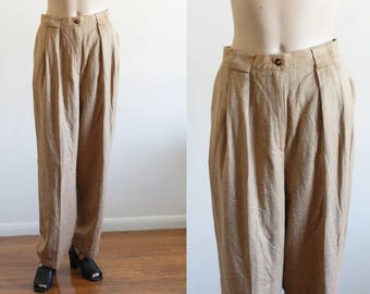 """Vintage High Waisted Woven Trousers / Golden Brown / 90's Minimal Pants / Modern / Loose  / 28"""" Waist"""