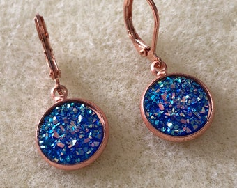 12mm druzy earrings in rose gold settings settings