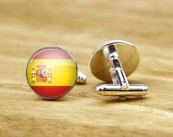 Flag cufflinks, Flag of Spain cufflinks, custom national flag cufflinks, Spanish Flag cufflinks, round square cufflinks, tie clip or set