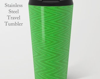 Green Travel Tumbler-Stainless Steel Mug-Insulated Coffee Mug-Metal Mug-15 oz Mug-Chevron Coffee Mug-Insulated Travel Mug-Quirky Coffee Mug