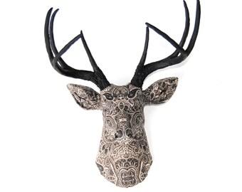 Fabric Deer Head - Black and White Paisley Fabric Deer Head - Faux Taxidermy Deer Head Wall Mount - FAD0417