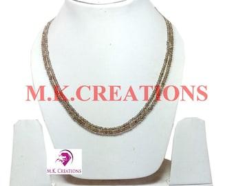 30% Off, Natural Smoky Quartz Beads 2 Strand Necklace, Multistrand Necklace, Beaded Layered Necklace, Statement Necklace, Christmas Gift