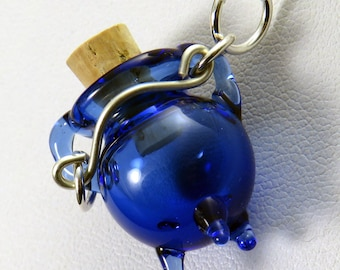 Blown blue glass caldron pendant charm - fillable and wearable lampwork witches bottle with silver handle