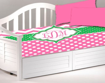 Daybed TWIN Custom Duvet Cover and 2 shams - Shown in Hot Pink with Lime Green Accent and Monogram