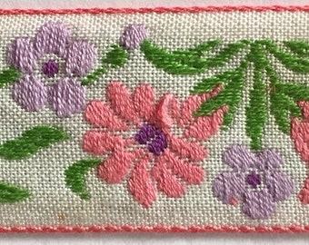 "Sweet floral Woven Jacquard Ribbon Trim Tape~white~purple~Lavender~Pink~edelweiss flowers on a white  background~15/16"" wide"