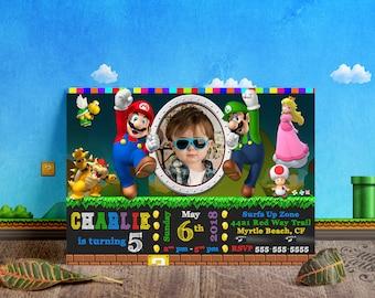 Super Mario birthday invitation, Super Mario birthday, Super Mario Invitation, Super Mario invitations, Mario Printable, Super Mario Bro