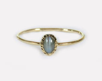 Alexandrite Ring, June Birthstone Ring, Stacking Ring, Solid 14k Gold Ring,  Cat's Eye, Alexandrite Engagement Ring