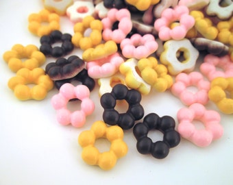 Assorted Flower Cookie Donut Cabochons, Pastry Cabochons, #121a