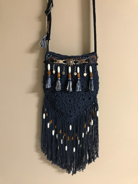 Handmade crocheted navy blue bohemian, boho, hobo, hippie, tassel, beaded fringe shoulder bag