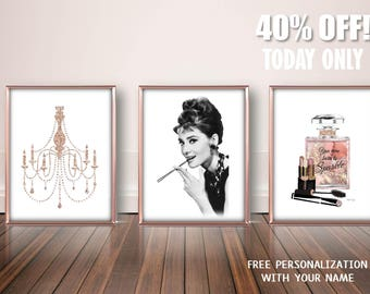 Audrey Hepburn Print, Audrey Hepburn Art, Hollywood Wall Art, Audrey Hepburn Quote, Audrey Hepburn Wall Art,Audrey Hepburn Poster,Glam Decor
