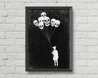 Skulls balloons,Original art,digital print,girl,black and white,creepy,horror poster,gothic poster,wall decor,home decor