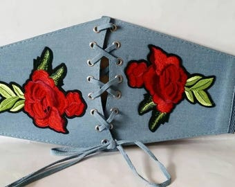 Women stylish denim broad patch badge  stretch belt one size