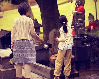 japan, photography, buddhism, family, grand mother, little girl, photo, monk, water, cult, art, print, poster