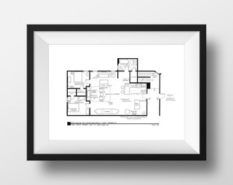 Friends TV Show - Joey Tribbiani & Chandler Bing Apartment Floor Plan - Blackline Print - Featured on Today Show - Friends TV Show Gift