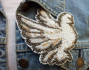 Beadwork Dove /bird brooch