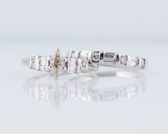 Engagement Ring Modern .30 Marquise Cut Diamond & Matching Diamond Wedding Band in 14k White Gold