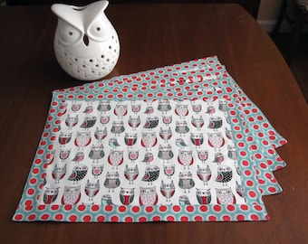Retro Atomic Mid Century Style Owl Place Mats, Hand Made by Tiki Queen