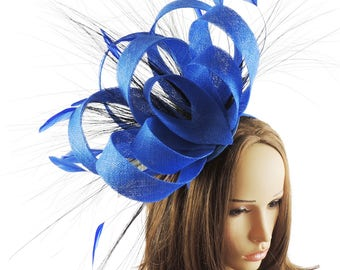 Ralitza Royal Blue Fascinator Hat for Races, Weddings, Party and Special Events on a Headband