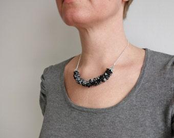Stone bib necklace obsidian stones necklace minimalist bib necklace for women