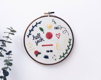 "Embroidered wall hanging // Large doodles hand embroidered wall hanging // 6.5"" hoop (hell yeah, rose, fly, heart)"
