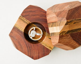 Faceted Wooden Ring Box/ Proposal Box/ Engagement Ring Box/ Jewelry Box/ Wedding Gift