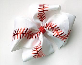 Extra large boutique bow baseball print, extra large hair bow, big boutique hair bow, large boutique hair bow, baseball hair bow