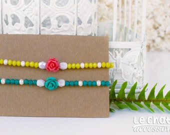MOTHERS DAY GIFT, Beaded bracelet, Flower bracelet, Romantic jewelry, Colorful bracelet, Spring bracelet, Floral bracelet, Gift for mother