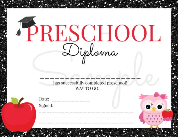 INSTANT Download Preschool GRADUATION Diploma for Girl
