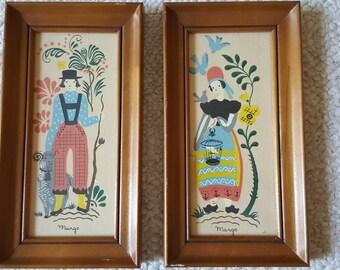Vintage Pair of Margo Alexander Prints Provincials Mid Century Modern