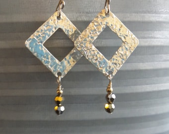 Hammered diamond shape Handmade Sterling Silver 925  drop earrings with brown accent beads