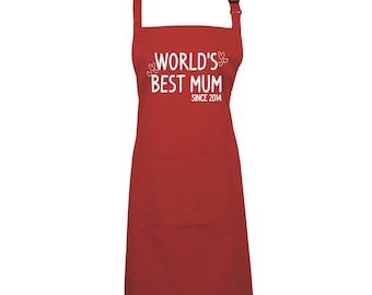Personalised 'World's Best Mum' Mothers Day Apron Cooking & Baking apron