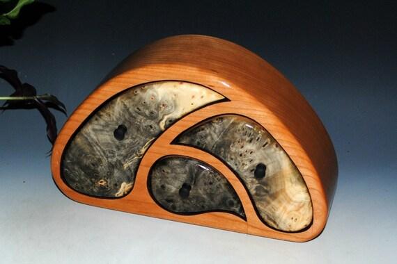 Handmade TriOval Style Wooden Jewelry Box - Buckeye Burl on Cherry - Art With Function - Cherry Jewelry Box, Burl Wood Jewelry Box