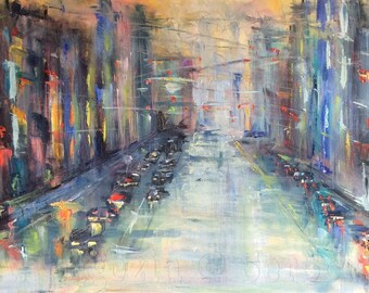 City Lights Abstract City Painting Original Oil Painting 24 x 48""