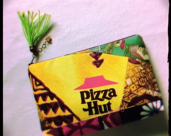 intuitive slow made zipper pouch -Tropical Slice- handmade from Vintage Pizza Hut + vintage + modern fabrics
