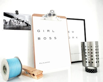 Girl Boss Print, Girl Boss Printable, Girl Power Print, Girl Boss Poster, Gift for Women, Quote Print, Feminism Quote, Typography Poster