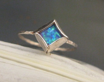 Blue Opal stacking ring in sterling silver,  October birthstone ring, Blue Opal Square ring, Opal jewelry