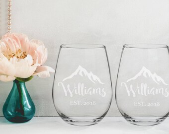 Rustic Mr. Mrs. Wedding Reception Stemless Wine Glass Groom Bride Wine Glass Favor Gift for Couple Newlywed Mr Mrs Him Her Glasses
