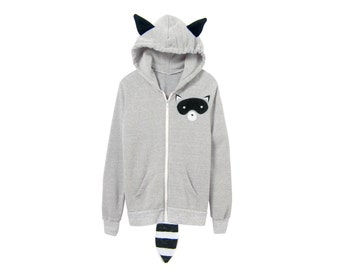 Geo Raccoon Hoodie - Fleece Hooded Zip Sweatshirt with Ears and Tail in Heather Ash Grey - Unisex Size XS- 2XL