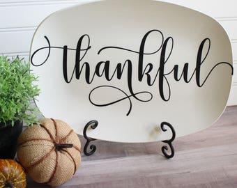 Farmhouse Inspired Script Platter | Personalized Platters | Gather - Thankful - Blessed - Celebrate - Grateful - Custom