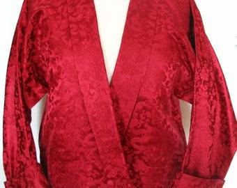Gorgeous Scarlet Satin Damask Cropped Dragon Jacket Size M