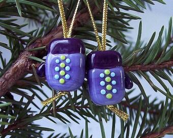 Mittens. Handmade Lampwork Beads (2 pcs) Purple, Blue Lavender. Lampwork Glass Mittens.  Violet Glass Beads. Lampwork Christmas Decorations.