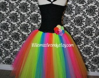 Rainbow Tutu Dress, Rainbow Tutu, Girls Rainbow Tutu Dress, Rainbow Tutu Dress with Black Top, Birthday Rainbow Tutu Dress, Flower Girl Tutu