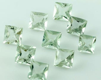 Natural Green Amethyst (Prasiolite) Square Cut 1 Piece Gemstone VS Clatity Calibrated Size 4 mm To 8 mm Loose Gemstone