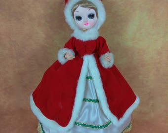 Vintage Bradley Doll//Christmas Decor//Tree Topper//Big Eyed Doll with Red Velvet Holiday Dress and Hat//Vintage Holiday Decor//