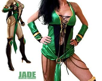 Mortal Kombat Jade cosplay costume/ Jade MK costume/ Jade cosplay costume