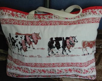 LARGE COWS PATTERN TOTE BAG