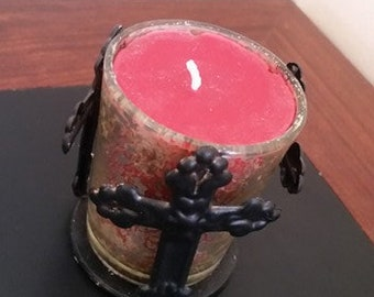 Organic Soy Wax Eucalyptus Scented Candle with Cross Holder