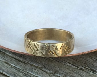 OOAK Rustic Brass Textured Wedding Band Size 12.5 - 6mm Distressed Gold Men's Wedding Ring or 7th Anniversary Gift for Men