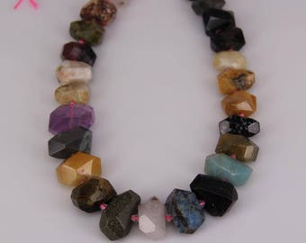 Full strand Mixed Stones Faceted Nugget Beads,Quartz Crystal,Amethyst,Sodalite,Unakite,Agate,Amazonite,Snowflake Stones Center Drilled Chunk