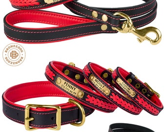 Red Dog Collar Leash Set Leather Personalized Custom Brass Hardware Soft Padded